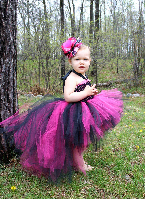 Pink black cascade tutu dress train tutu short front long back punk