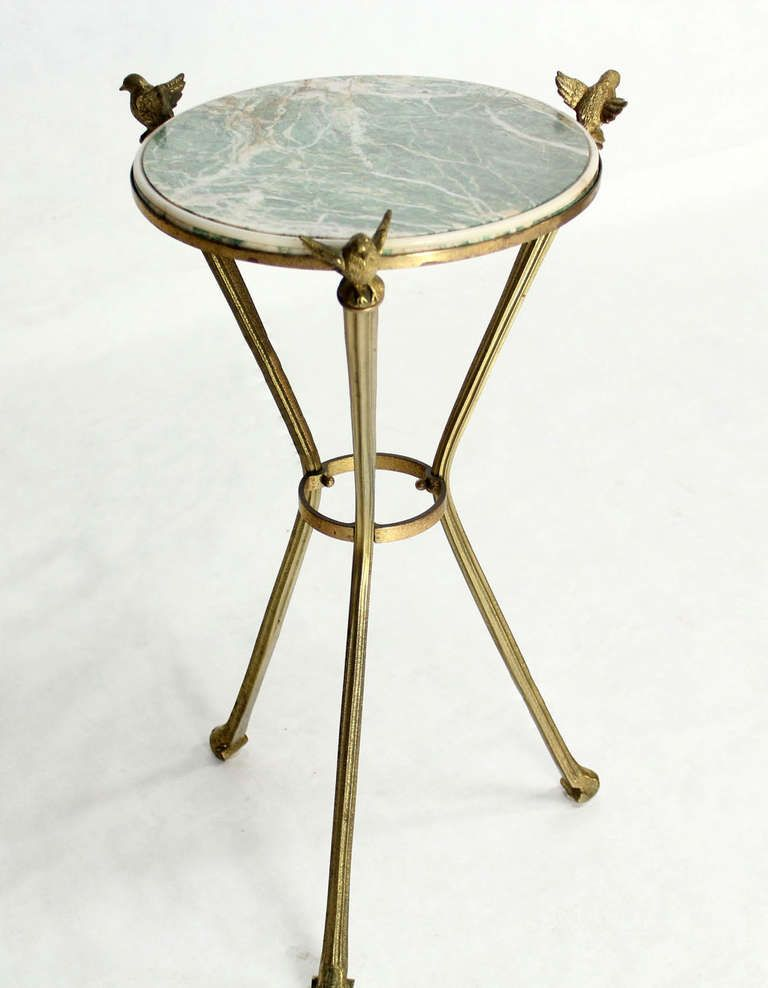 Petite Brass And Marble Top Gueridon Or Lamp Table With Birds