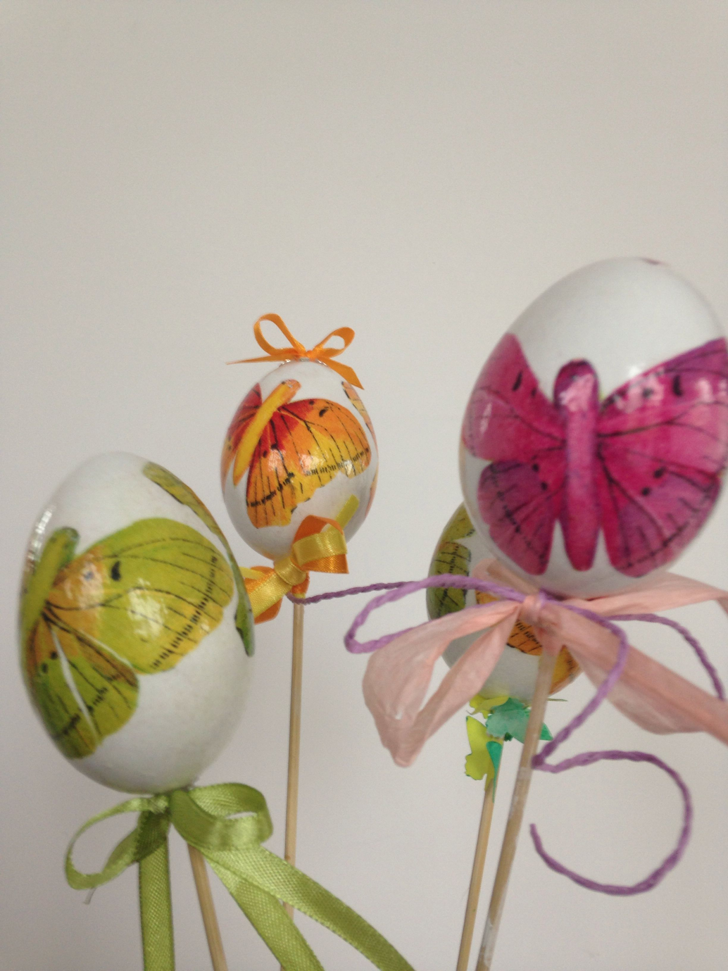 Decoupage eggs  butterfly inspired