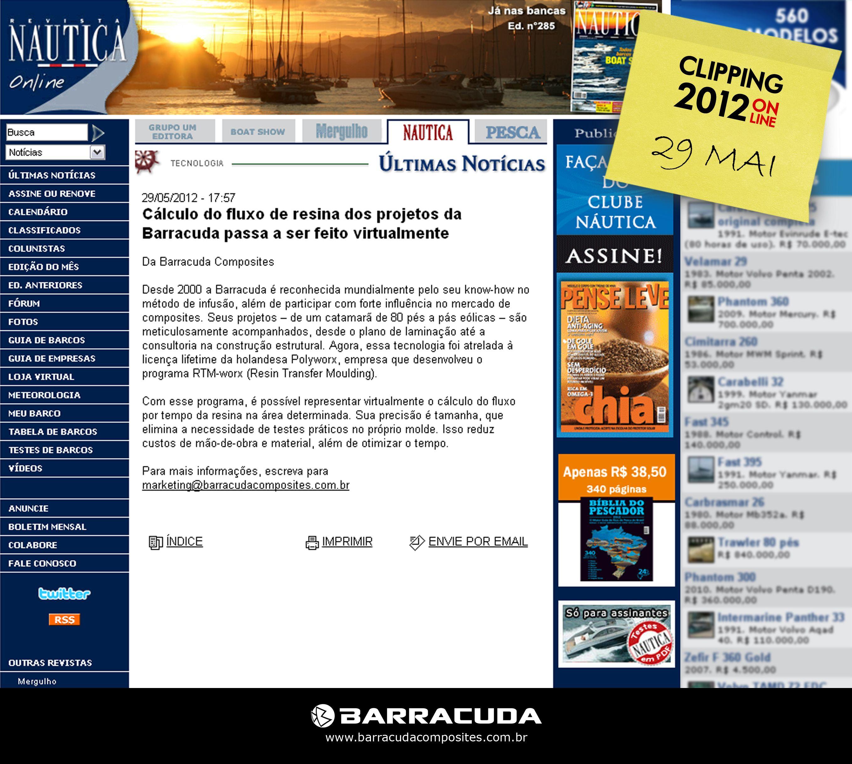 ::Náutica Online::  Cálculo do fluxo de resina dos projetos da Barracuda passa a ser feito virtualmente  Acesse o link da matéria http://nautica.com.br/noticias/viewnews.php?nid=ult752020609981e78568c03ad54772fd41