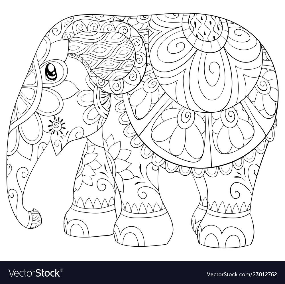 Pin On Elephant Coloring Page