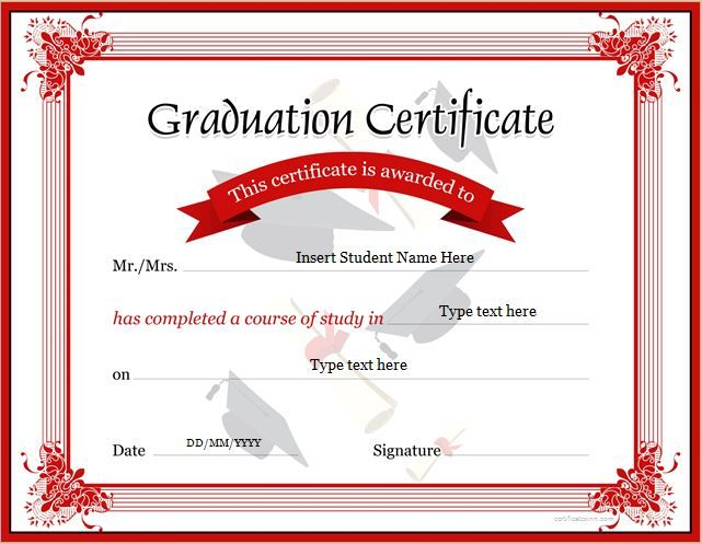 Graduation Certificate Template for MS Word DOWNLOAD at http - certificate printable templates