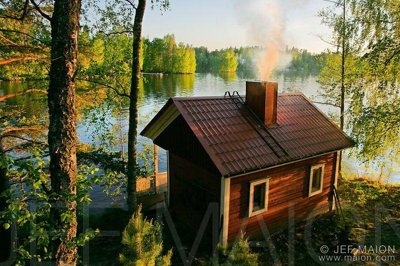 Lauantai-illan sauna mökillä - ei mitään parempaa. [cottage in Finland; photo by Jef Maion]