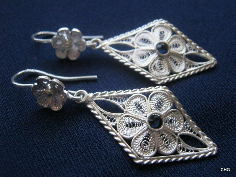 Handmade Sterling Silver Filigree Rosetta Earrings