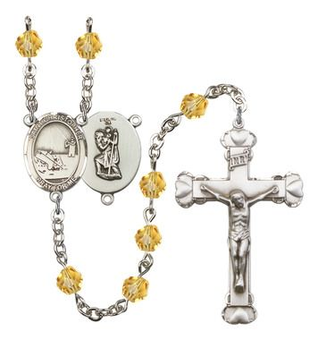 St. Christopher / Fishing Silver-Plated Rosary with 6mm Topaz Fire Polished beads