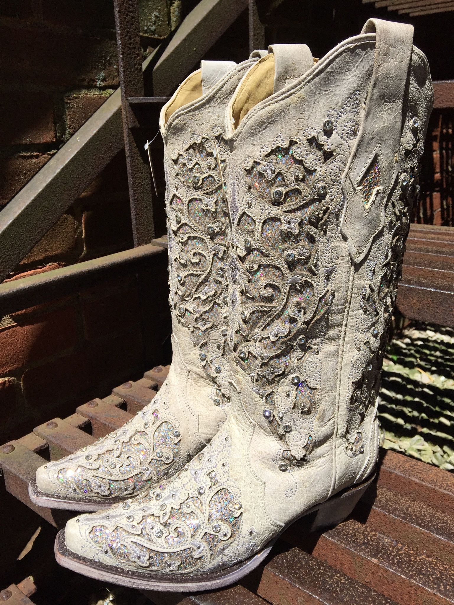 Corral Ladies White Glitter Inlay//Crystals Square Wedding Boot A3397