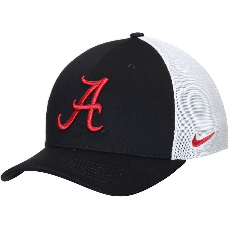 differently 7e8e5 8986b Alabama Crimson Tide Nike AeroBill Classic 99 Mesh Back Flex Hat - Black  White