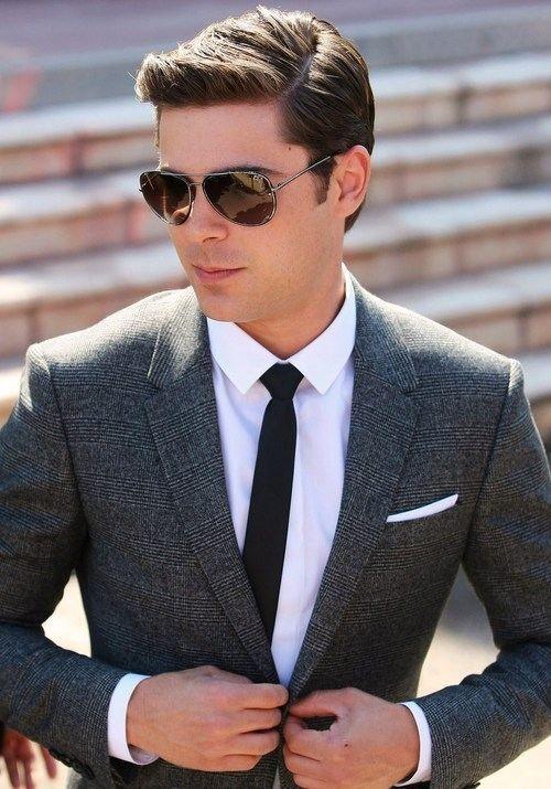 Men's Charcoal Plaid Wool Blazer, White Dress Shirt, Black Tie ...