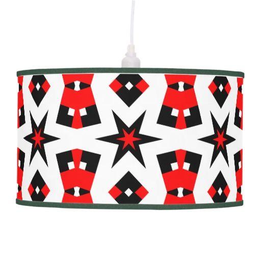 Red Black and White Retro Pendant Lamp