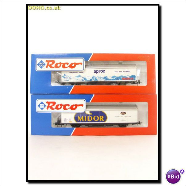 "Roco 46601 & 46603 - SWISS SBB Tarpaulin Wagons- "" Aproz "" & "" Midor "" on eBid United Kingdom"