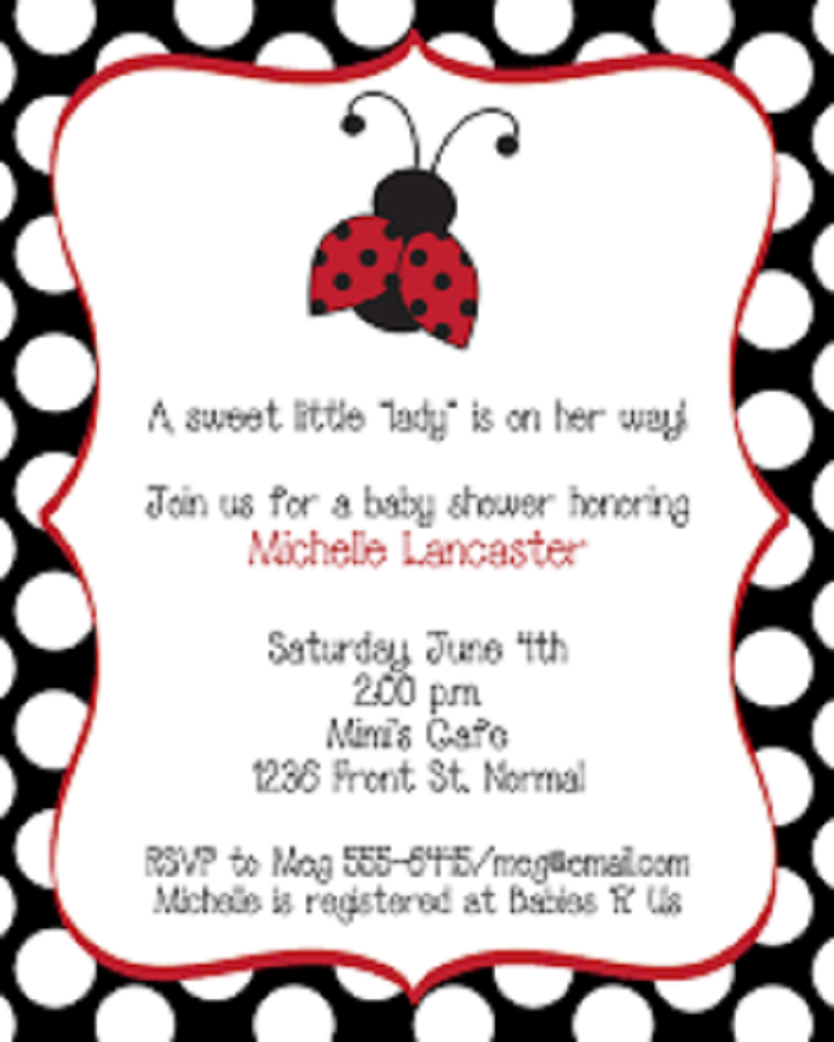 Ladybug Baby Shower Invitation Ideas Party Invitation Card In 2019