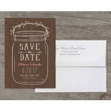 Mason Jar Deluxe Save the Date, Brown