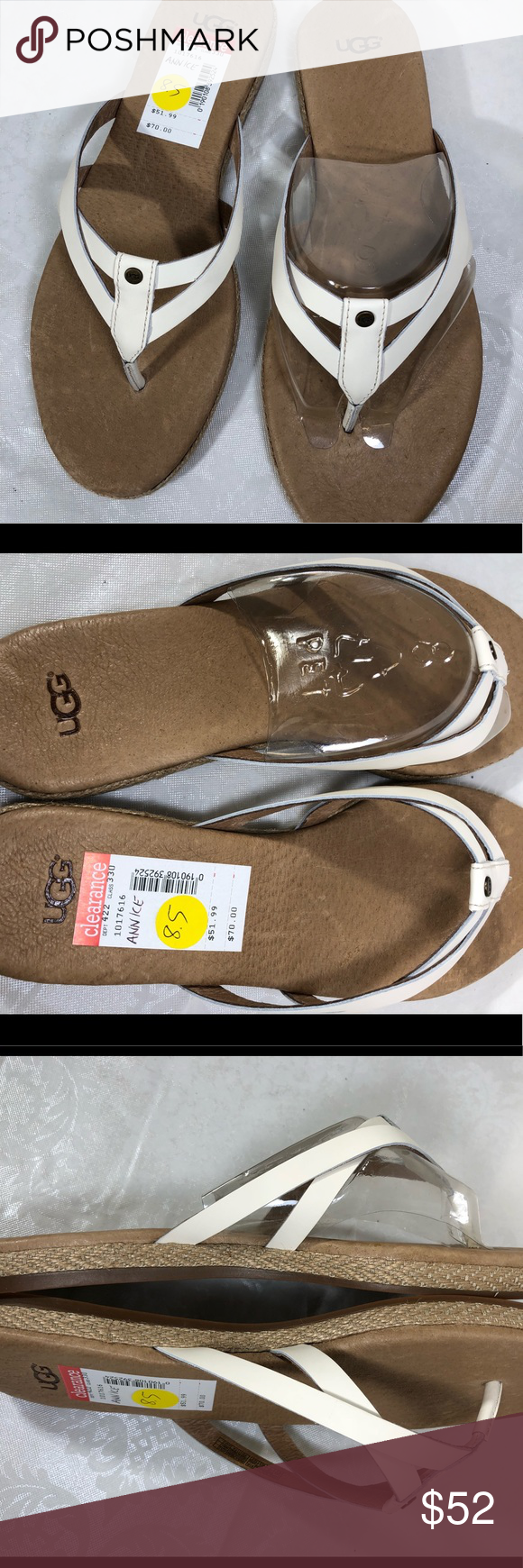 479cb797761 UGG ANNICE LEATHER JUTE SANDALS WHITE Brand New with Box