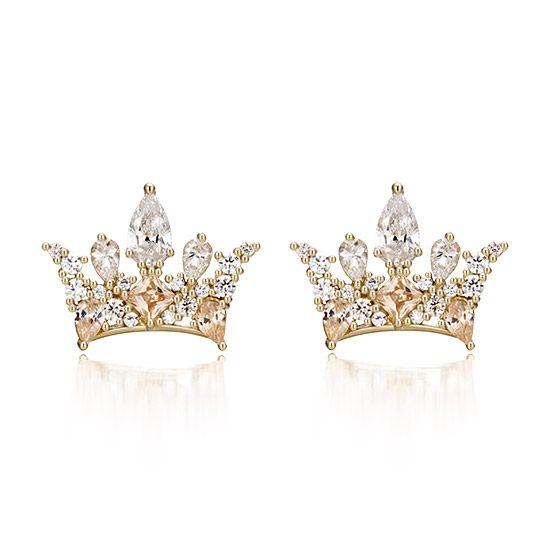 J Estina 925 Sterling Silver Gold Yuna Memowa Tiara Earrings Crown