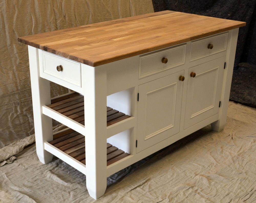 Kitchen island handmade solid wood painted ebay storage home