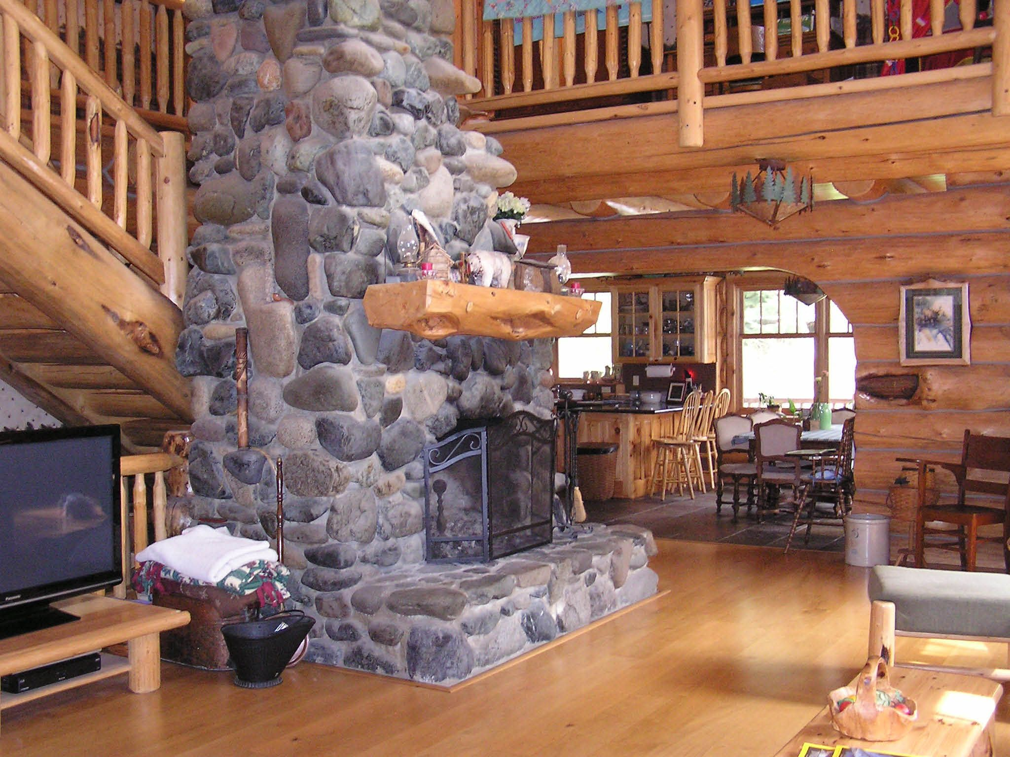 river rock works well in this home log homes i have built pinterest