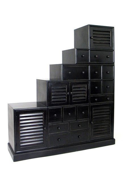 Tonsu Antique Black Step Cabinet