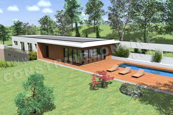Plan de maison contemporaine terrain pente CARAVELLE vue terrasse - plan de maison sur terrain en pente