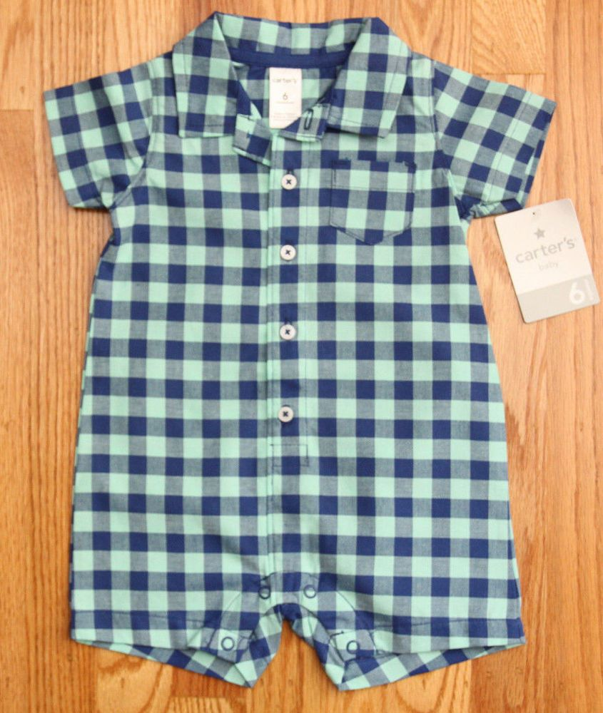 45794e2359d7 Carter s Baby Boy Collard Romper ~ Blue   Mint Green ~ 6M ~ Checkered ~   Carters  Romper