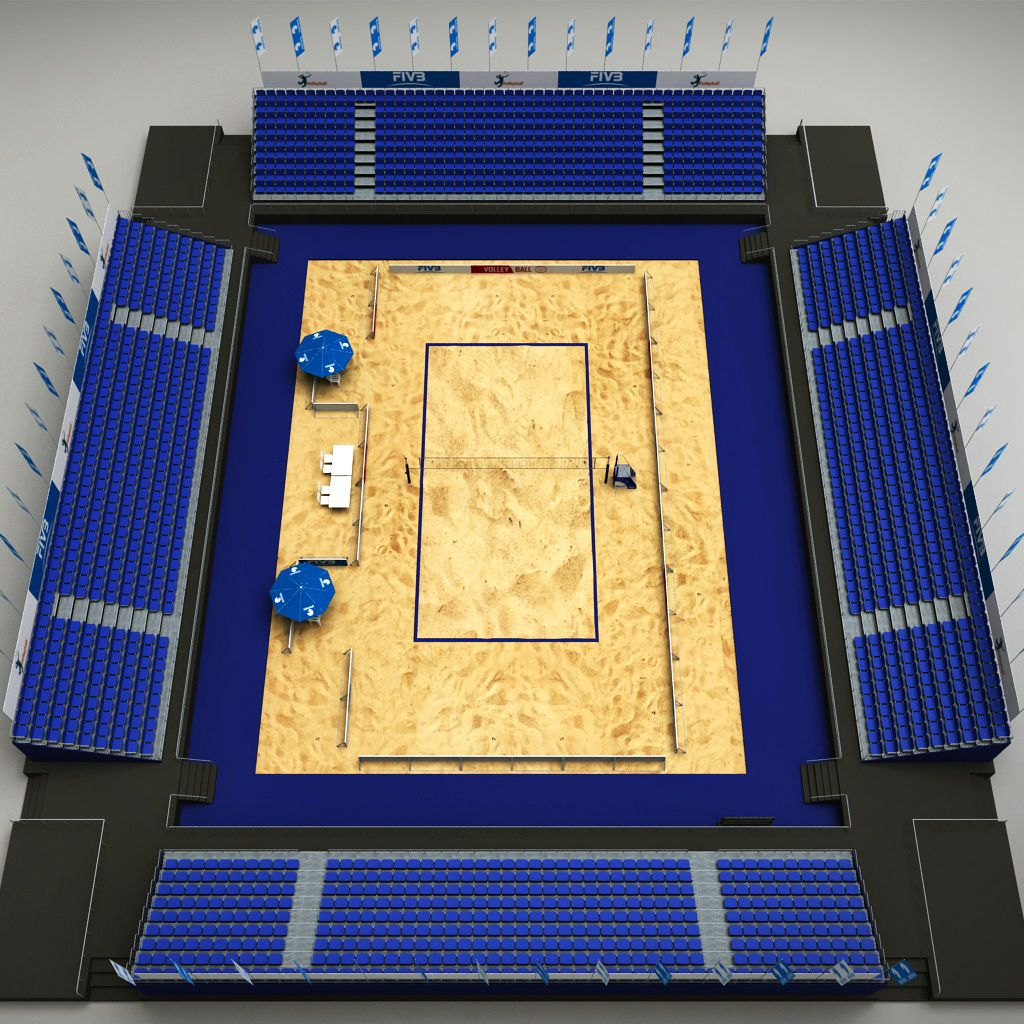 Volleyball Beach Court Stadium High Detail Volleyball Stadium Volleyball Net