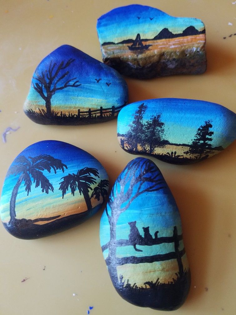Painted Rocks Silhouette Tropical Cats Scenery Rock Painting Designs Rock Painting Patterns Painted Rocks