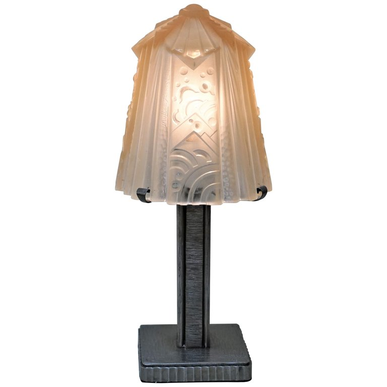 Iron And Glass Art Deco Table Lamp By Muller Freres Art Deco