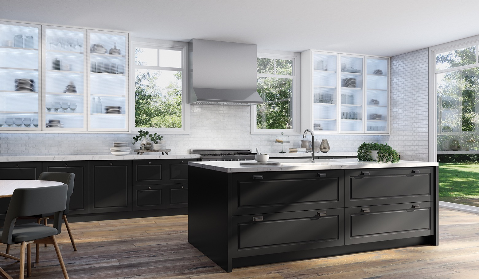 Amazing Black And White Kitchen With Marble Backsplash White Marble Kitchen Kitchen Marble New Kitchen Interior