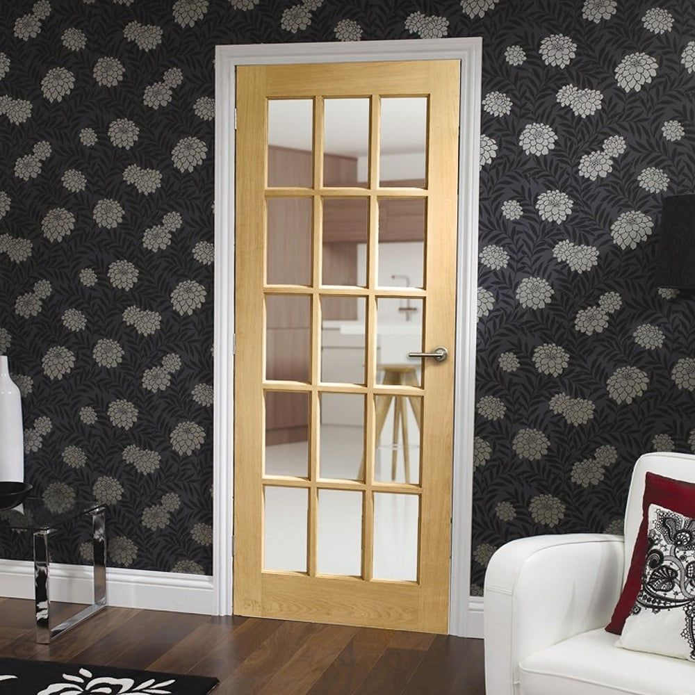 Clear Pine Sa77 Glazed A Stylish Fully Glazed 15 Light Door With Clear Glass Please Note The Smallest Internal Oak Doors Internal Glazed Doors Internal Doors