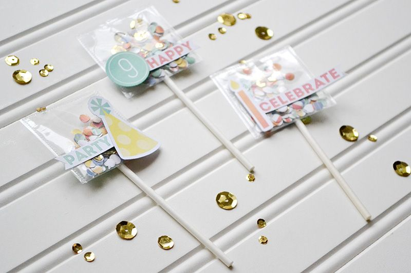 photo sleeve fuse confetti pocket cupcake toppers_close