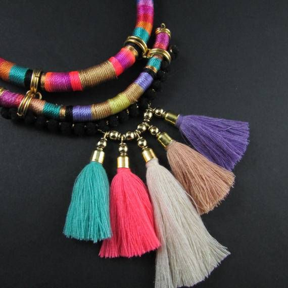 Collar multicolor collar de cuerda moderna Fringe borla