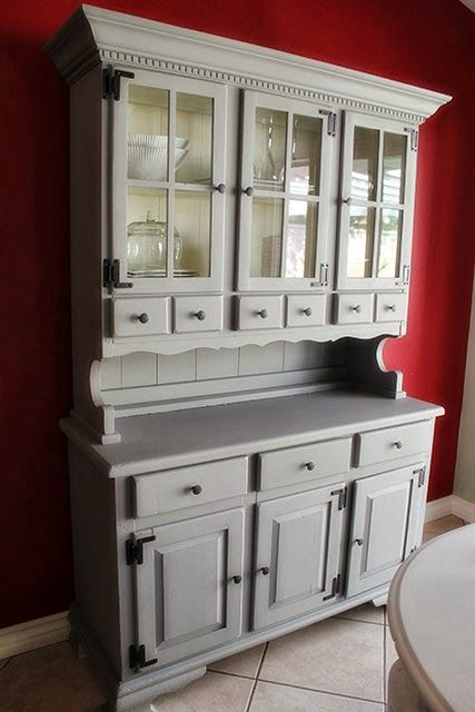 Gray Dining Room Hutch Cabinet Makeover