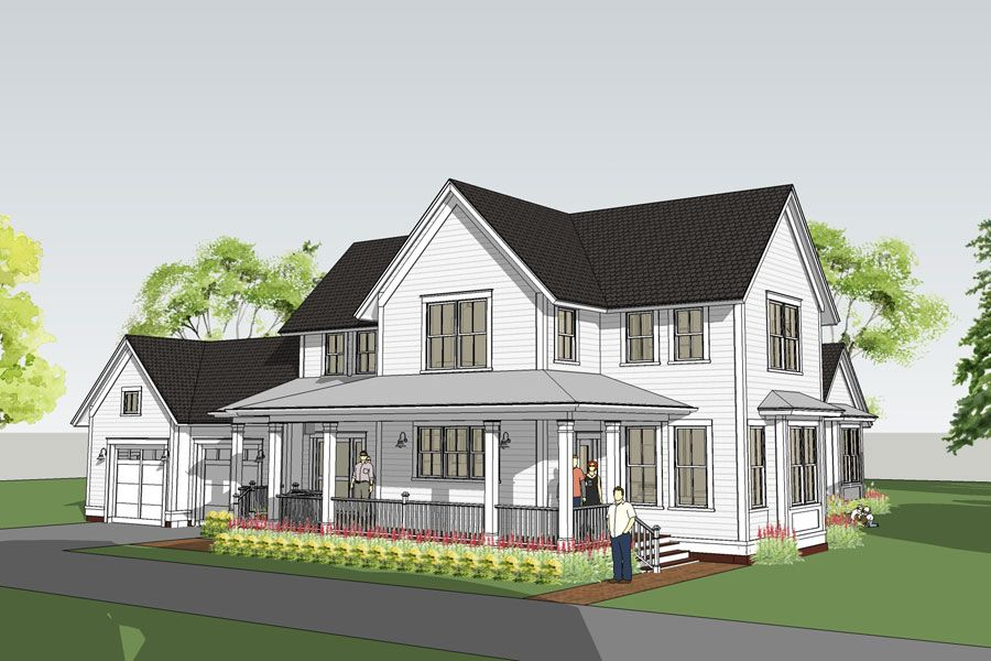 With More Than One Gabled Roof And A Long Wrap Around Columned Porch From Far Away This Iow Modern Farmhouse Floorplan Farmhouse Floor Plans Farmhouse Plans