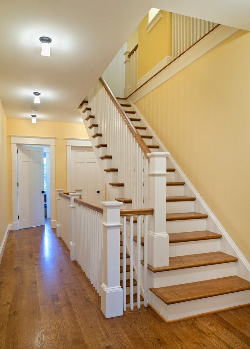 Best Traditional Staircase With Wood Rails And Yellow Walls 640 x 480