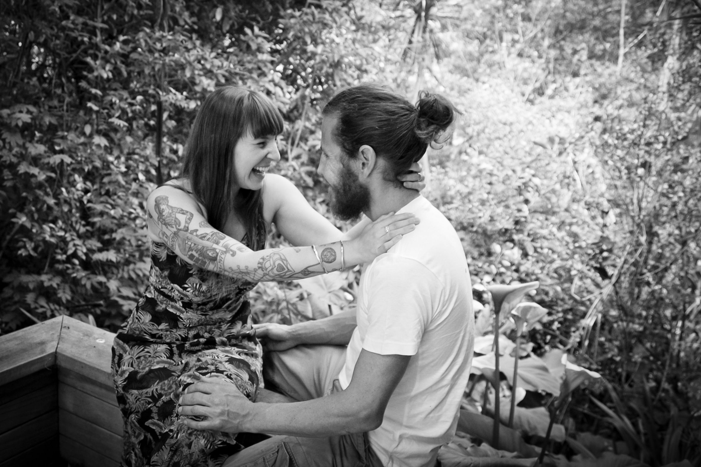 my gorgeous man rocking his beard and man bun in our engagement photos #manbun #beard #tattoos #tattooedgirl