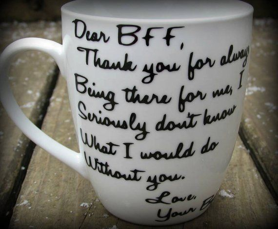 Personalized Best Friend Mug Dear BFF Thank You Gift Friendship Bestie Message Cup Birthday For A