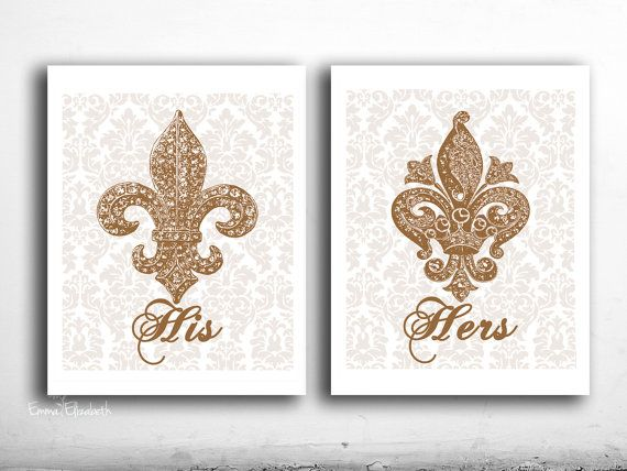 His And Hers Wall Decor Bathroom Art Prints Fleur De Lis Wall