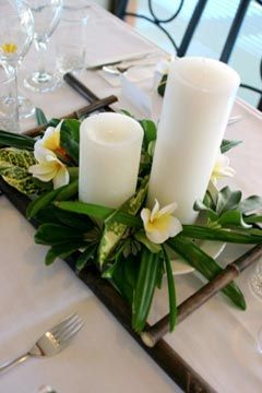 Candle Centerpieces with Leaves and Orchids