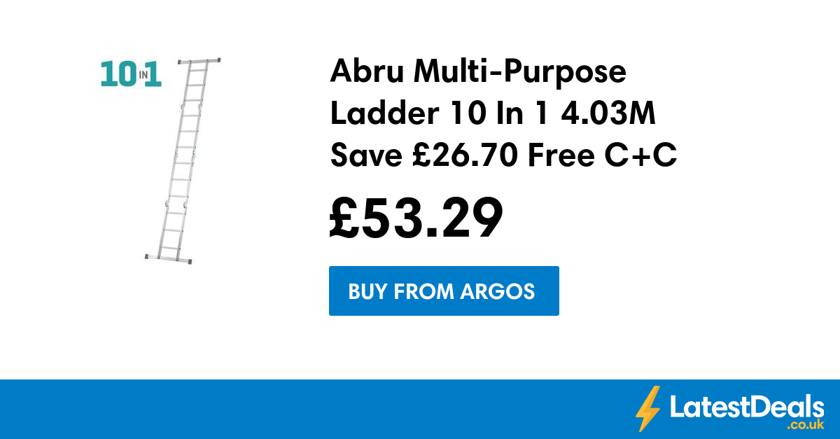 Abru Multi Purpose Ladder 10 In 1 4 03m Save 26 70 Free C C 53 29 At Argos Argos American Tourister Multi Purpose Ladder
