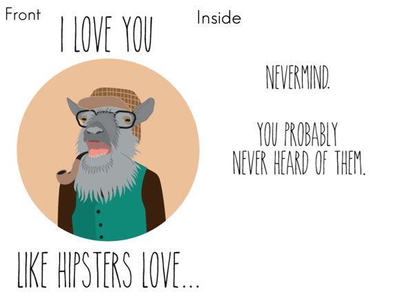 Hipster Goat Valentines Day Card Funny by RuthiesMagicalCamera – Hipster Birthday Cards