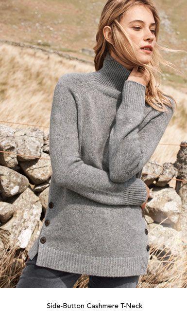 Garnet Hill Women's Sweaters. Side Button Cashmere
