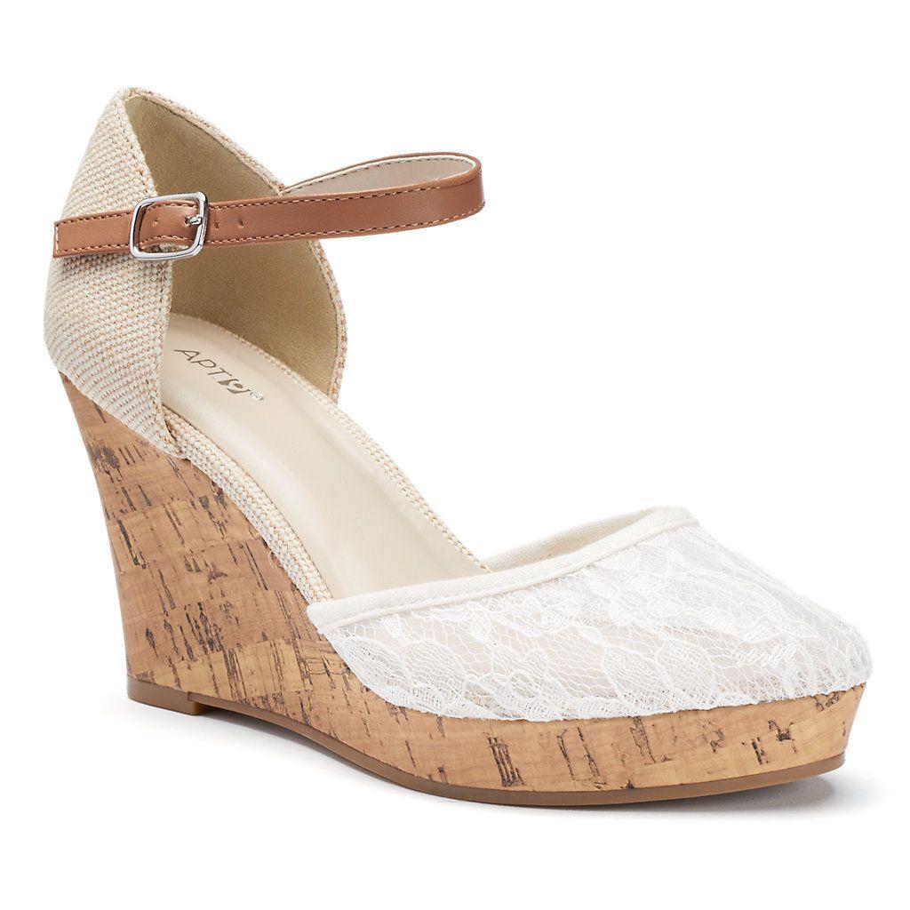 Lace Platform Wedge Sandals