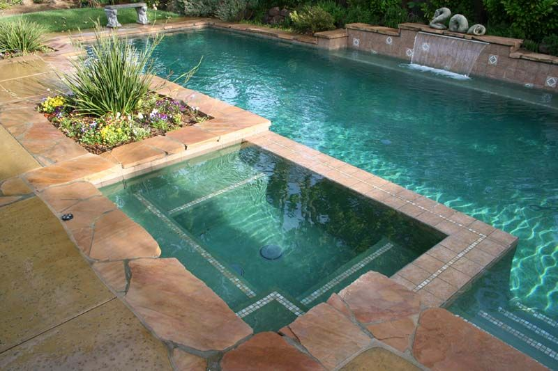 Photo Of Flagstone Coping With Aqua Marine Plaster Carmichael Ca With Images Backyard Pool Landscaping Backyard Pool Pool Landscaping