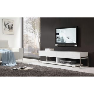 Giovanni White White Glass Two Drawer Modern Tv Stand Overstock