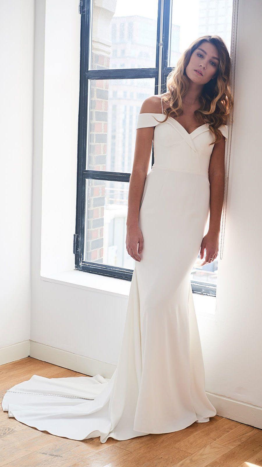 Kelly Faetanini Phoebe Crepe Fabric Wedding Dress Kelly Faetanini Wedding Dresses Crepe Wedding Dress Off Shoulder Wedding Dress [ 1600 x 900 Pixel ]