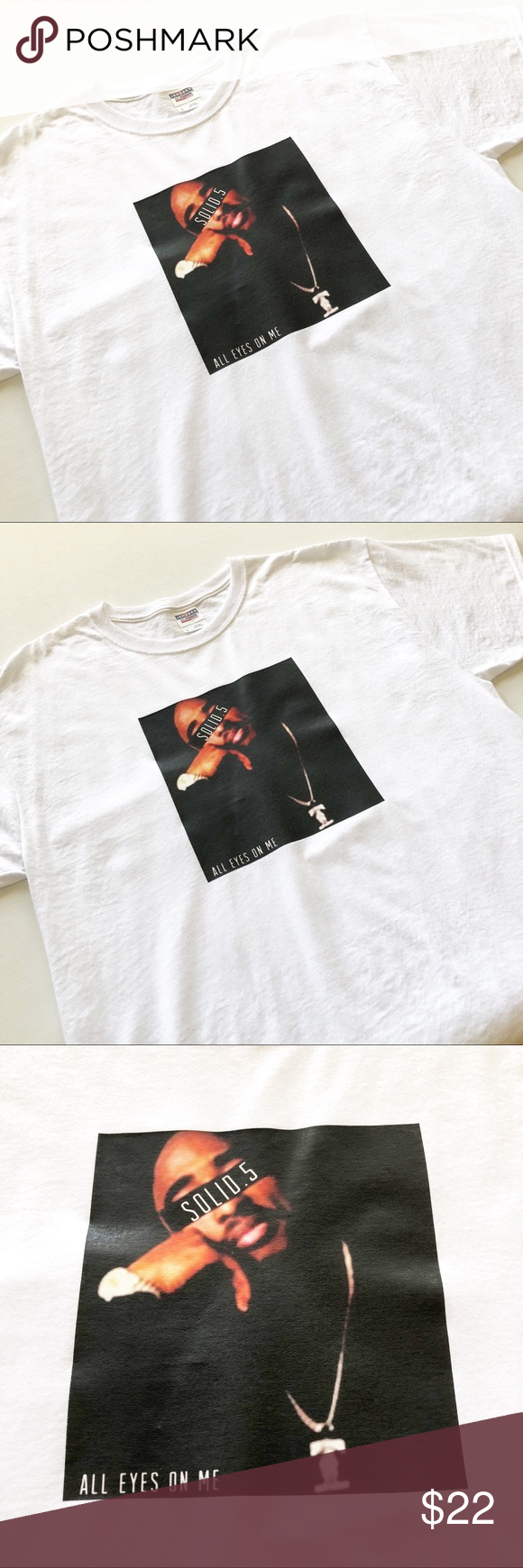 e5862a7673 New Tupac Shakur Graphic Tee Men's Tupac Shakur T-Shirt Size: Large SOLID.5  / ALL EYES ON ME Graphics Short Sleeves / Crew Neck NEW Without Tags!