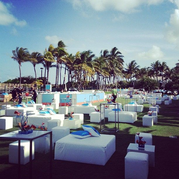 Outdoor Lounge Set Up At The Fontainebleau Hotel Ronen