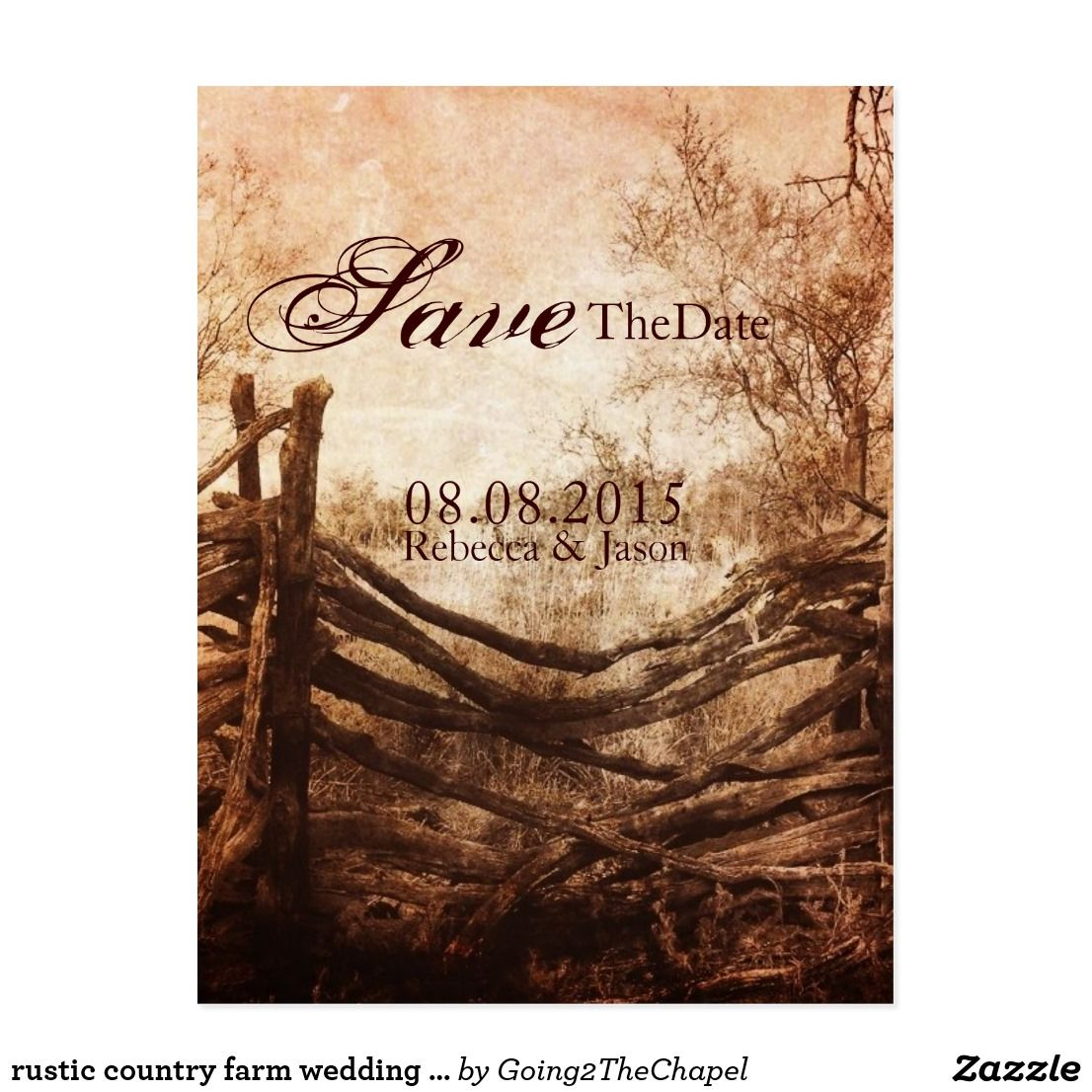 rustic country farm wedding save the date postcard