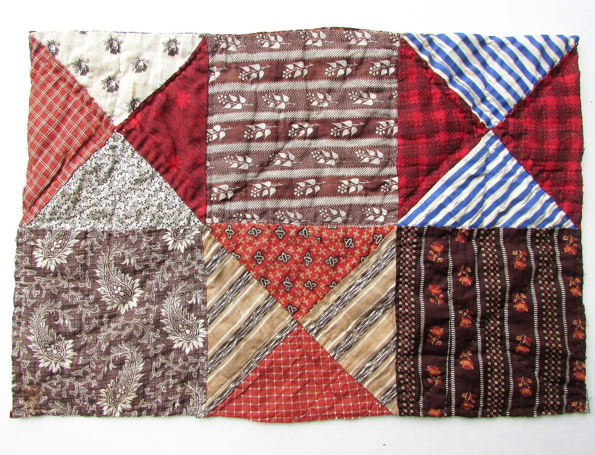 Antique Quilt Section 1890 Vintage Calico Fabrics Table Mat Wall Hanging Patchwork For Creative Uses Hand Stitch Antique Quilt Antique Quilts Calico Fabric