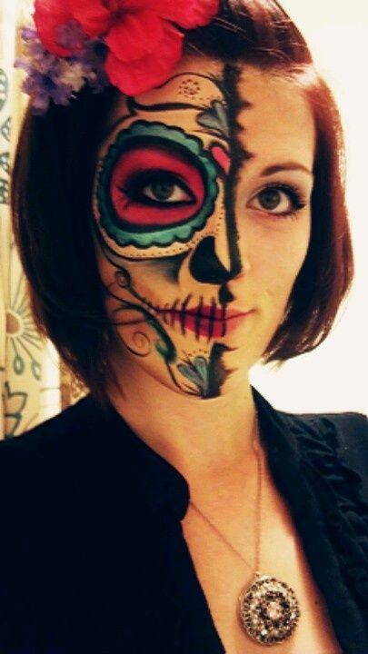 sugar skull halloween make up Personal Work, Halloween makeup - work halloween ideas