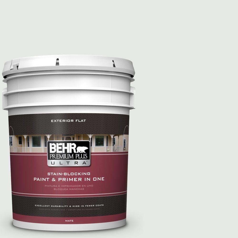 BEHR Premium Plus Ultra 5-gal. #ppl-55 Coastal Fog Flat Exterior Paint